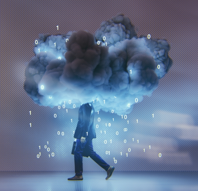 person with a cloud for a head